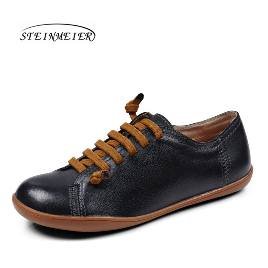 men genuine sheepskin casual flat shoes man round toe loafers black Group Barefoot breathable comfortable lace up sneakers shoes