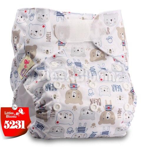 [Littles&Bloomz] Детские Моющиеся Многоразовые, настоящая стандартная ткань, застежка-липучка, карман для подгузников, пеленки, обертывание, подходит для рождения в горшке - Цвет: 5231
