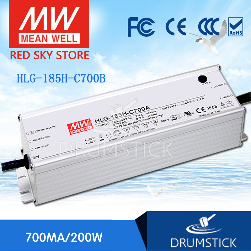 (Only 11.11)MEAN WELL HLG-185H-C700B (2Pcs) 143V ~ 286V 700mA meanwell HLG-185H-C 200.2W LED Driver Power Supply B Type(Only 11.11)MEAN WELL HLG-185H-C700B (2Pcs) 143V ~ 286V 700mA meanwell HLG-185H-C 200.2W LED Driver Power Supply B Type