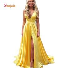c96969b47c4 Yellow Satin Prom Dresses 2019 V Neck Simple Long Girls Graduation Dresses  Leg Split Slit Attractive