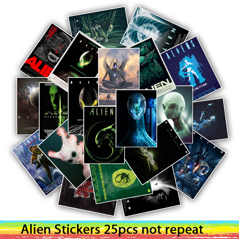 25pcs Movie Alien Stickers For Skateboard Phone Motorcycle Luggage Fashion Funny Sticker Bomb JDM DIY Decals