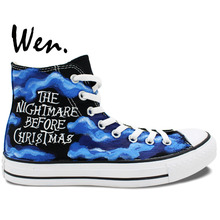 Wen Blue Hand Painted Shoes Design Custom Nightmare Before Christmas High Top Men Women's Canvas Sneakers for Gifts