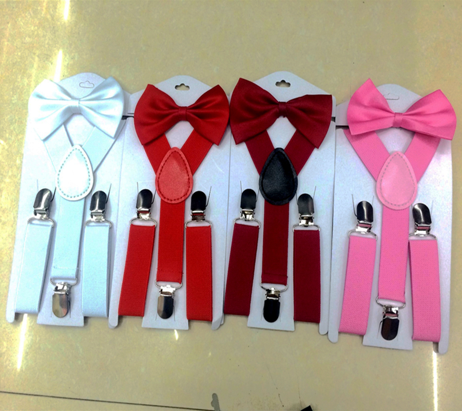 Soild Color Children Belt Bowtie Set Baby Boys Girls Suspenders Clip-on Y-Back Braces Bow Tie Elastic Kids Adjustable Suit Brace