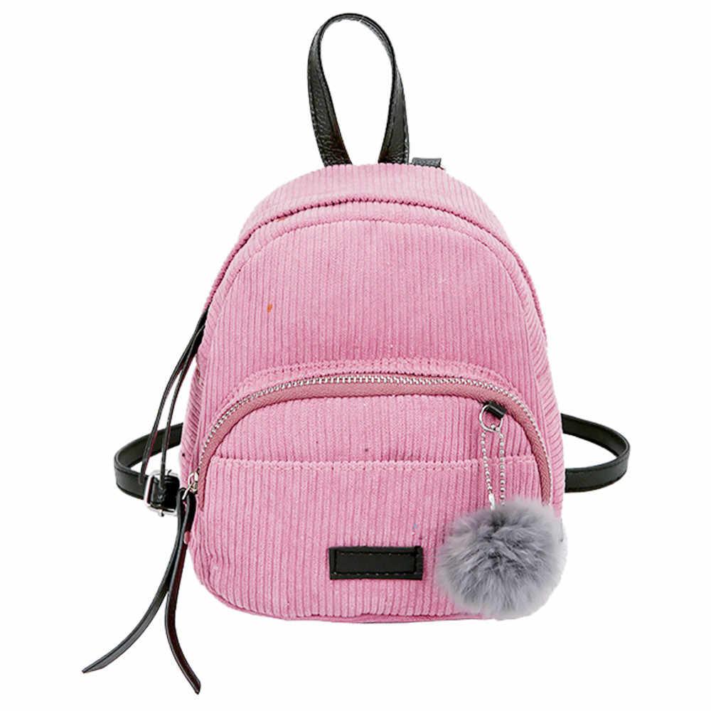 209ace4611b9 ... Women Backpack Vintage Stylish School Bag Mochila Feminina Ladies Nylon  Fabric Backpack Hairball Corduroy Bookbag Drop ...