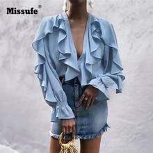 Missufe Autumn Glossy Chiffon Shirt Women's Casual Top Femal