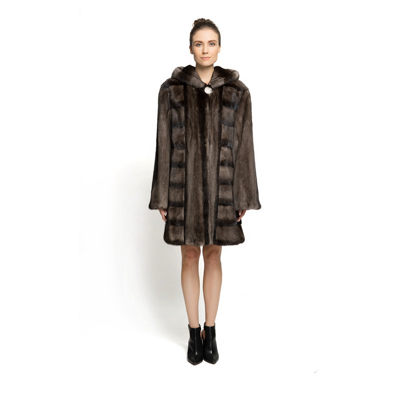 ZY89008 New Design Ladies Luxury Especially Real Mink Fur With Mink Fur Hooede long Fur Coat  Solid Fur Long Jacket
