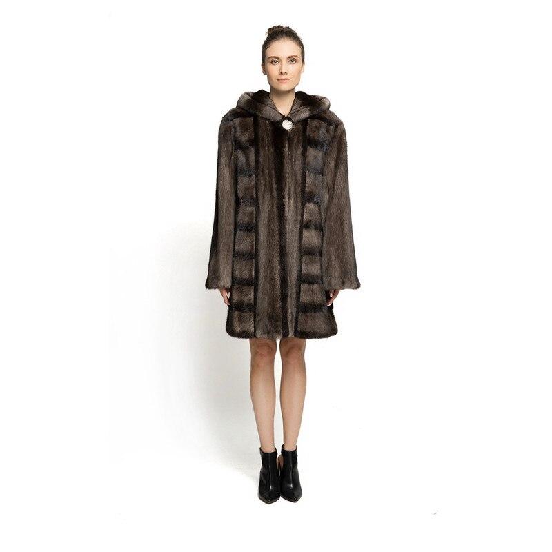 ZY89008 Nuove Signore di Disegno di Lusso Soprattutto Reale Pelliccia di Visone Con Pelliccia di Visone Hooede lungo Fur Coat Solid Lunga Giacca di Pelliccia