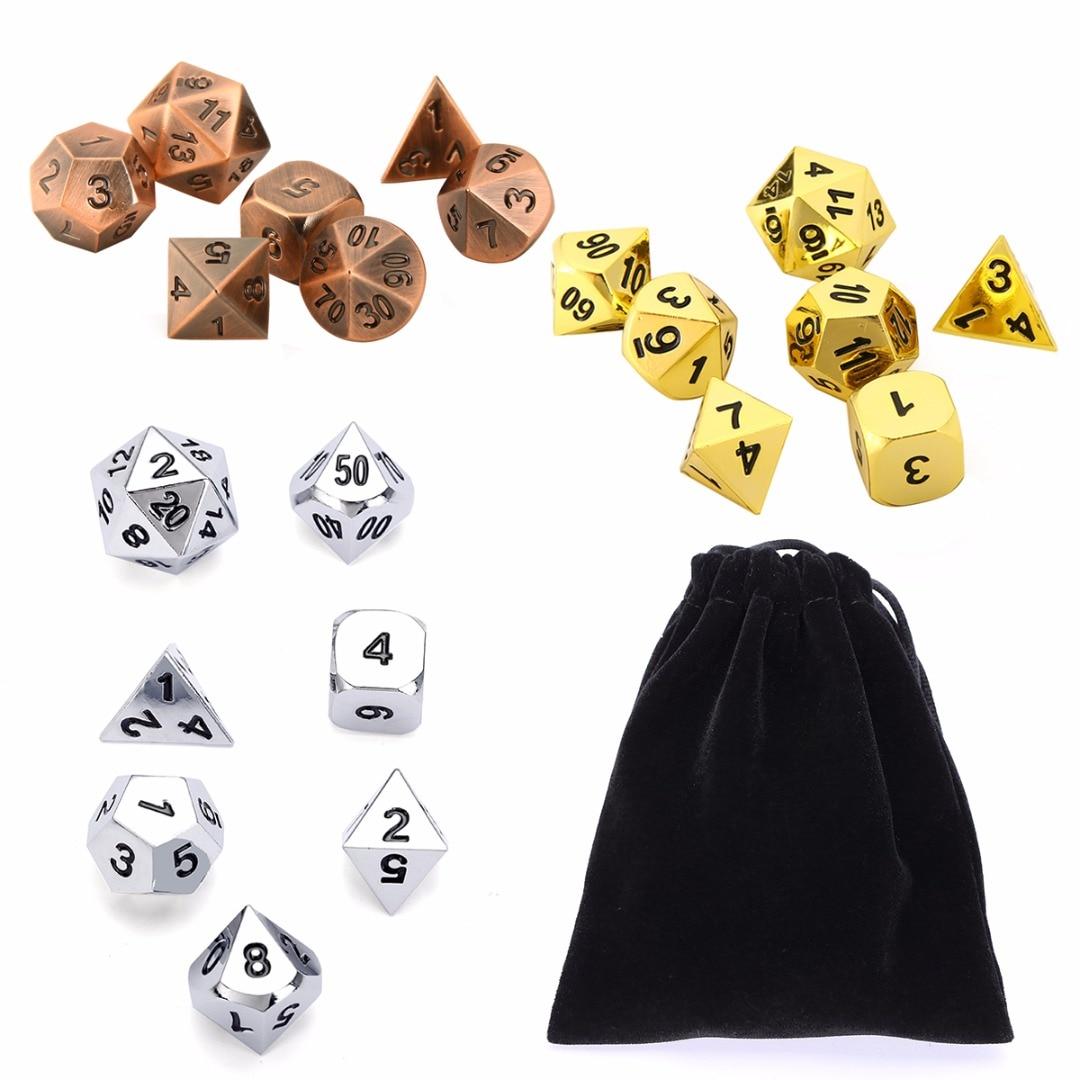 7 unids metal polyhedral Dados s rol juego Dados cobre/oro/plata color para Dungeons y dragones con bolsa