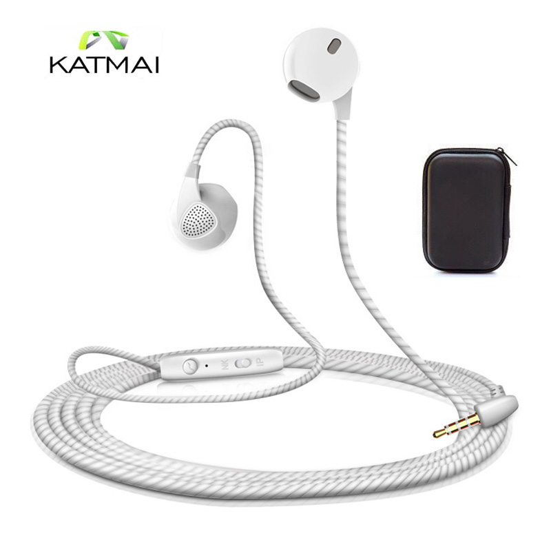 KATMAI Super Bass In-ear Earbud Dynamic Earphones Stereo Sound System Hifi Headset With Mic For Iphone Xiaomi With Earphone Case 5mm foam memory earbud tip for in ear earphones 10pcs