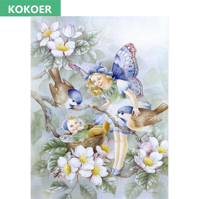 2017 Full,Diamond Embroidery,Flower Fairy angel children baby ...