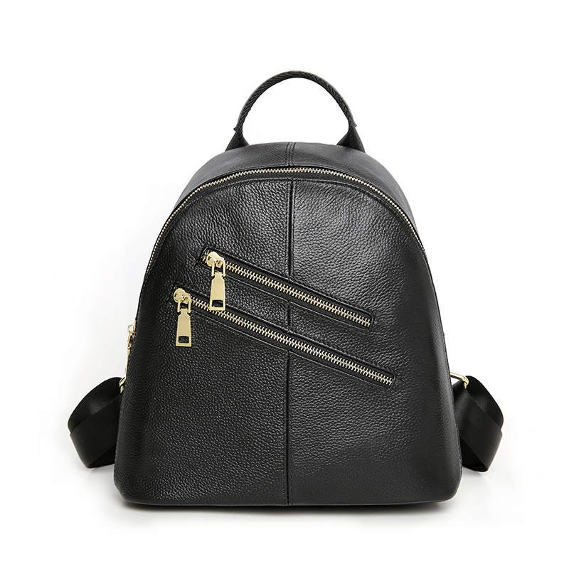 2018 New Fashion Genuine Leather Women Backpack Double Zipper Cow Leather Girls School Bag Casual Ladies Travel Backpacks nucelle brand new design fashion drawstring gemstone lock zipper cow leather casual women lady backpacks shoulders school bag