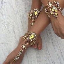 Best lady Fashion Statement Foot Jewelry Sexy Boho Leg Chain Anklets Luxury Wedding Summer Crysal Anklets Bracelets Women 4488
