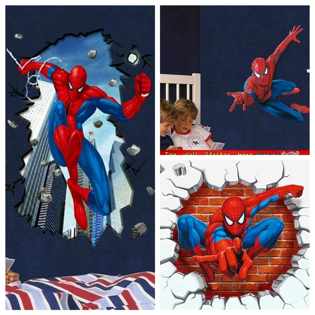 Christmas Marvel Wall Sticker Spiderman Beak Through The Wall Decals  Superheros Wall Art Stickers For Kids