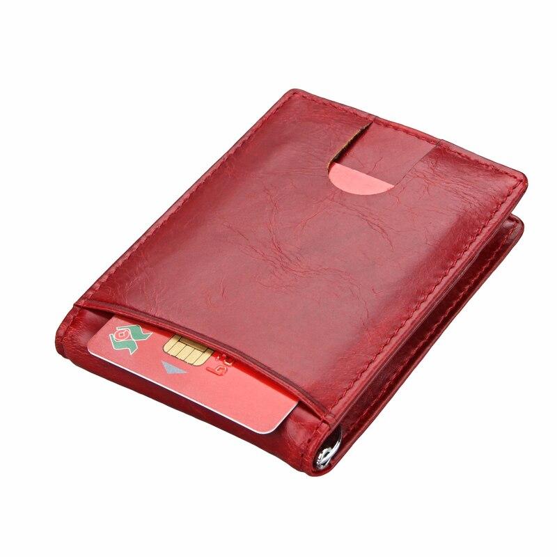 Genuine Leather RFID Money Clip Brand Men Women Bifold Male Purse Billfold Wallet Female Clamp For Money Bills Cilp