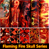 Free Shipping Flaming Fire Skull Hydrographic Fillm Water Transfer Printing Film Aqua Film 0 5M Wide