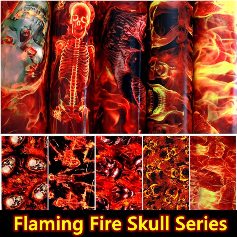 Free Shipping !!Flaming Fire Skull Hydrographic Fillm Water Transfer Printing Film Aqua Film 0.5M Wide Car Decoration Material aqua нерка fire