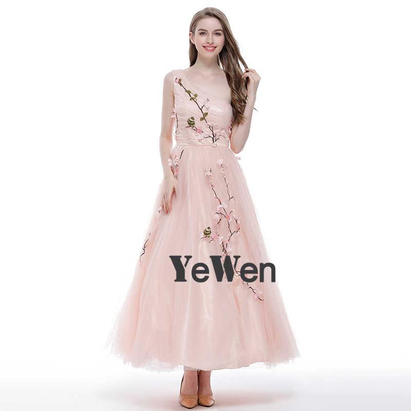 b1d271698d5c30a ... Цветы Вышивка Тюль Выпускные платья на одно плечо розовый лодыжки-Длина  для девочек вечерние торжественные ...