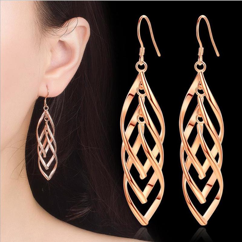 Everoyal Trendy Rose Gold Girls Geometric Drop Earrings For Women Jewelry Charm Silver 925 Earrings For Lady Female Accessories in Drop Earrings from Jewelry Accessories