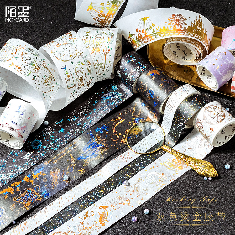 Night Stars Double Gilding Washi Tape Adhesive Tape DIY Scrapbooking Sticker Label Masking Tape mermaid bubble gilding raindrop washi tape adhesive tape diy scrapbooking sticker label craft masking tape