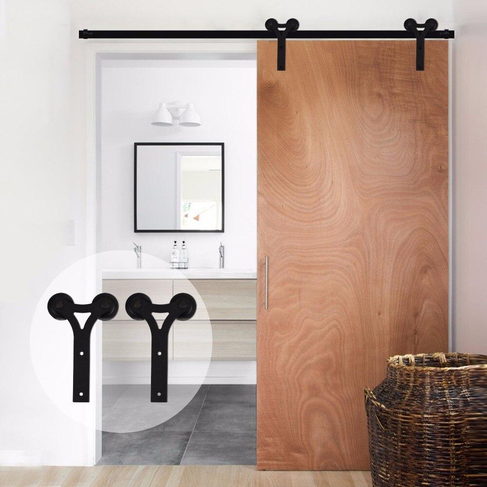 LWZH Kit de quincaillerie moderne en bois pour porte coulissante en forme de Y pour porte simple de 11FT 12FT