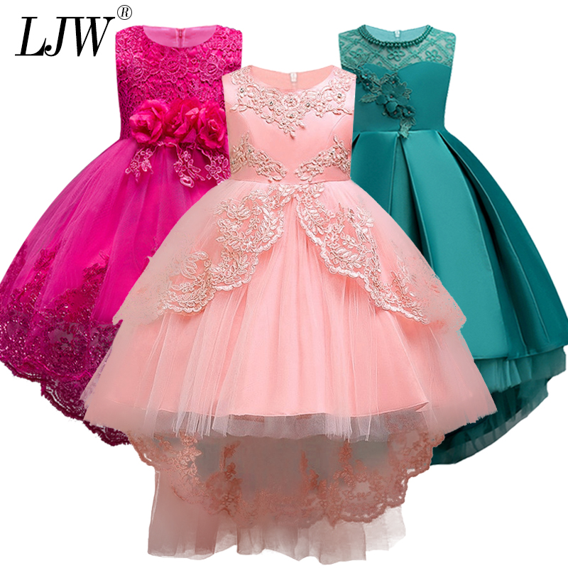 2019 Sale Real Kids Girls Elegant Wedding Flower Girl Dress Princess Party Pageant Formal Long Sleeveless Lace Tulle 2-14 Y Платье