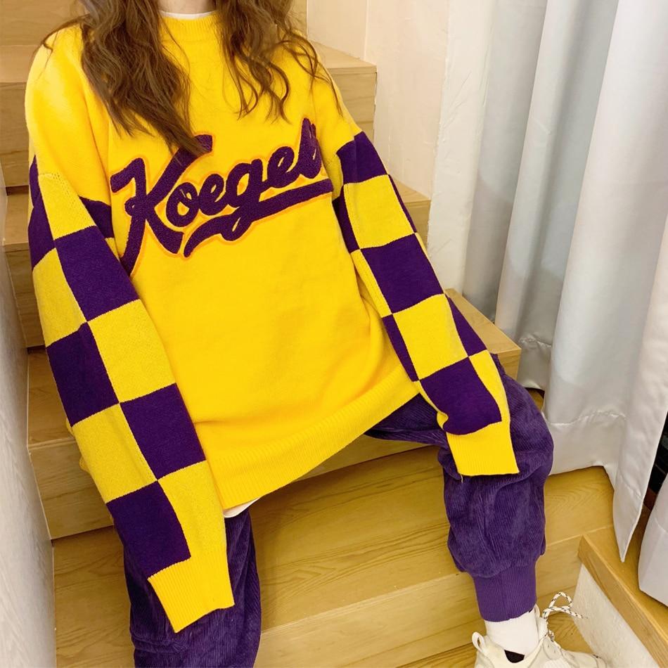 jaune hop Chandail Overize Rond Femmes D'hiver Marée Lâche Pour Treillis Et Noir Taille orange Rue Hommes Harajuku Hip Couture Col Grande EPwqqR1f