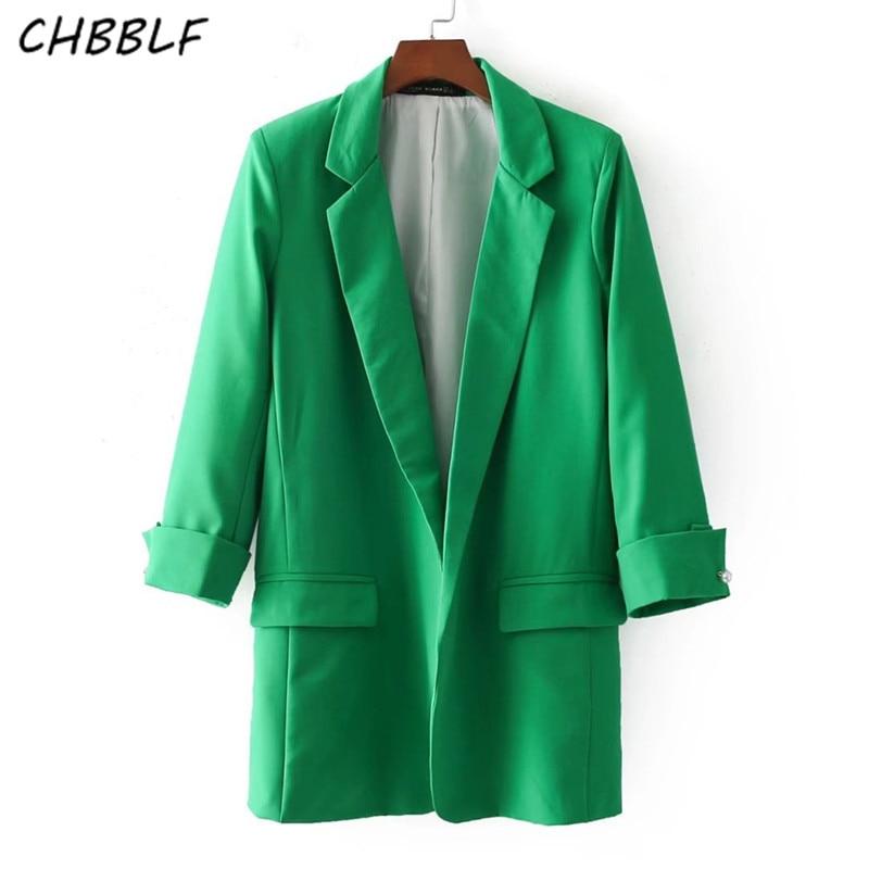 women elegant pink blue green blazer Notched collar three quarter sleeve outerwear office casual wear BGB8029