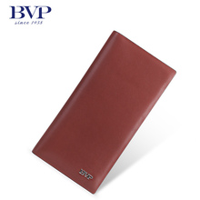 BVP – hHigh-end Men  Business Genuine Real Leather Branded Bifold Long Wallet ID Window Credit Card Holder Purse Brown J40