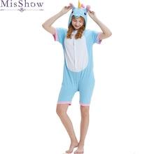 b8e5a39b80fc 2019 Cheap Kigurumi Onesie Unisex Adult Blue unicorn Pajamas Costume Animal  Cosplay Short Sleeve Stitch Cartoon