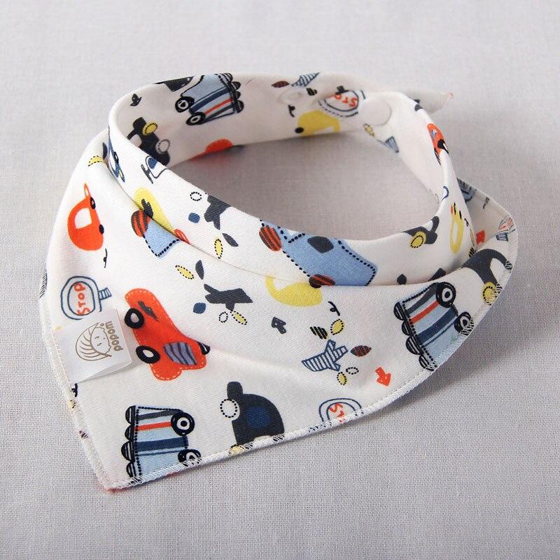 Baby bibs high quality cartoon character animal print baby bandana bibs triangle double layers cotton towel