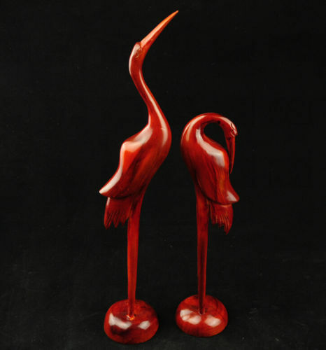 Collectible Decorated A Pair Of Rare Chinese Wood Hand-Carved Animal 2 Lifelike Cranes Red-crowned Cranes