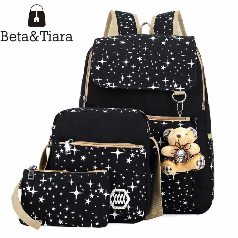 New 3PCS/Set Backpacks for School Canvas Bookbag Star Printing School Bags for Teenage Girls Mochila Feminina Bagpack Satchel 2017 new women galaxy star universe space canvas backpack multicolor school bags for girls mochila feminina teenage campus bags