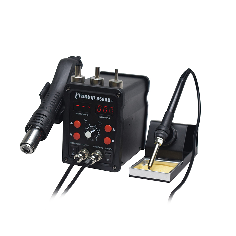 Image 5 - 1 Set  Double Digital Display Eruntop 8586D+  Electric Soldering Irons +Hot Air Gun SMD Rework Station Upgraded from 8586-in Heat Guns from Tools