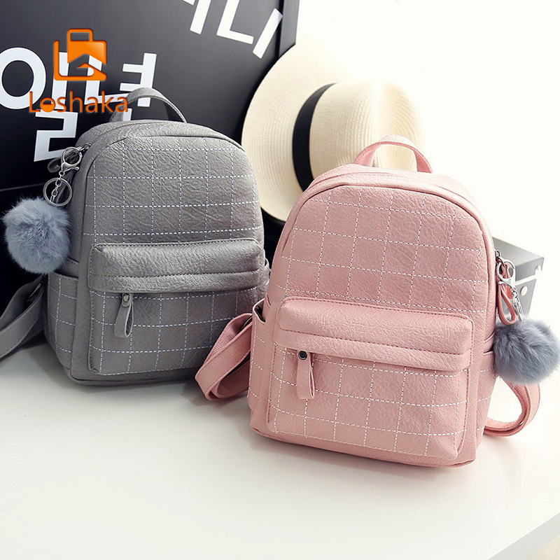 Loshaka Women Casual Style Backpacks With Fur Ball For Girls Large Capacity  School Back pack Ladies New Fashion Small Backpack-in Backpacks from  Luggage ... 6c8e955530632