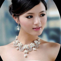 2017 Best Price New Bride Pearl Necklace Set Rhinestone Crystal Necklace Earring Jewelry Set For Wedding