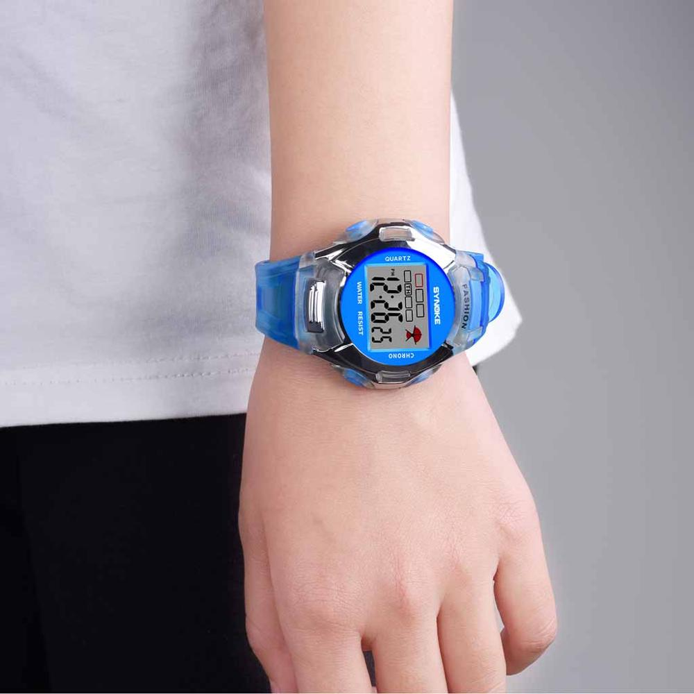 Children's Watch Luminous Waterproof Movement Boy Girl Universal Student Watch gift for kids PU band 12/24 time date EL light