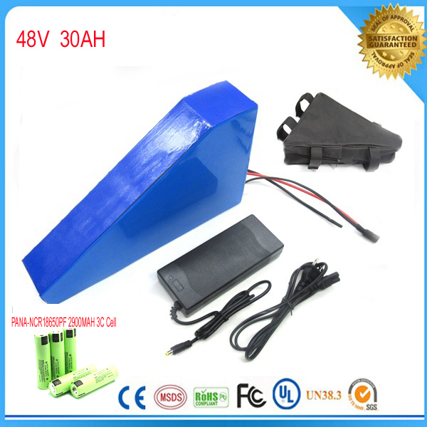 Free customs taxes electric bike battery 48V 30AH triangle battery 48V 1000W electric bike lithium battery For Panasonic cell