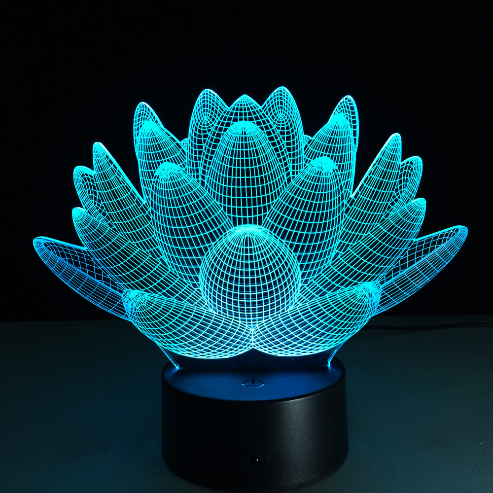 Lava lamp cheap - Lotus Flower 3d Usb Led Night Light Colors Changing Christmas Lights Touch Button Kids Living Bedroom