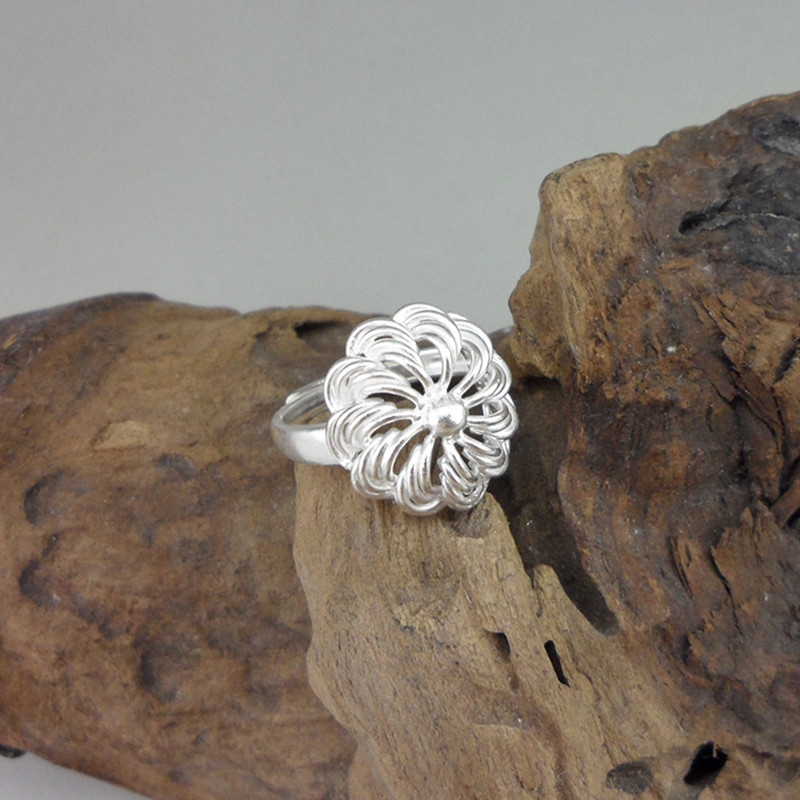 Hollow Out Flower 999 Sterling Silver Rings For Women Engagement Ring Adjustable Handmade Luxury Jewelry Boho Miao Silver Ethnic in Engagement Rings from Jewelry Accessories