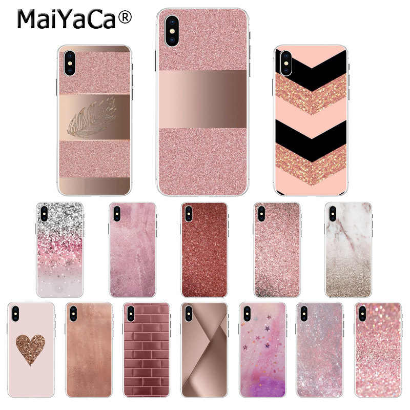 MaiYaCa Gold Pink rose Glitter Soft Silicone TPU Phone Cover for Apple iPhone 8 7 6 6S Plus X XS MAX 5 5S SE XR Mobile Cases
