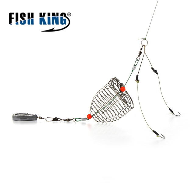 Fish King 1pcs size:30g Carp Fishing Feeder Fishing Bait Cage With Barrel Swivel Lead Sinker With Hooks for Carp Fishing Tackle