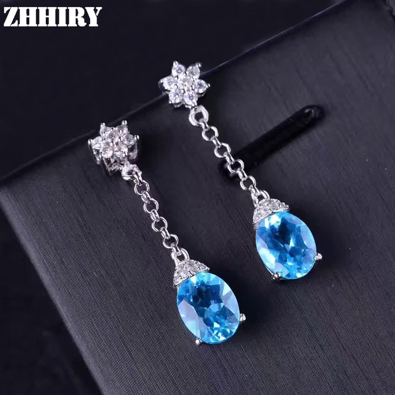 ZHHIRY Natural Topaz Stone Earring Ear Drop Genuine 925 Sterling Silver Woman Colored Gem Earrings