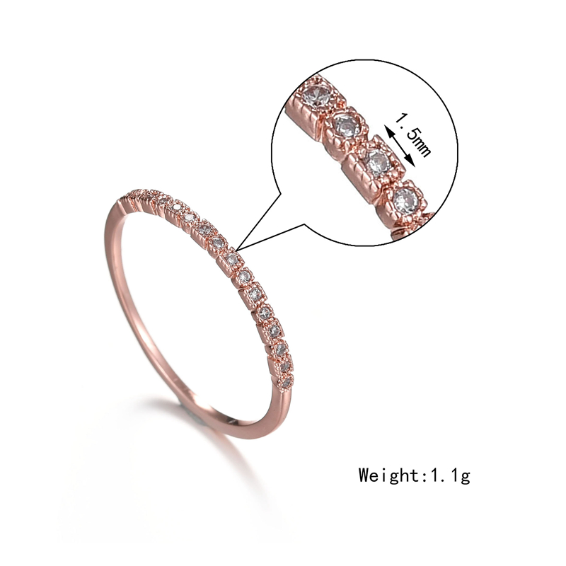 Misscycy Sample Style Rose Gold Color Crystal Rings For Women 3 Size