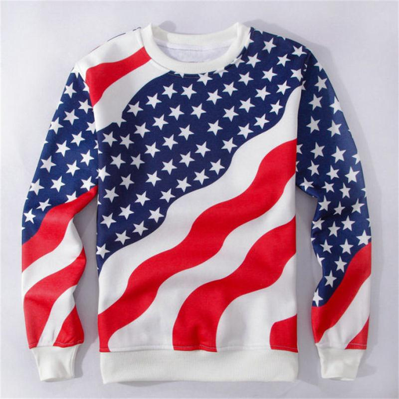 2018 NEW FASHION MEN WOMEN the American flag Sweat shirts Pullovers Autumn Tracksuit Streetwear Winter Loose Thin Hoody Top