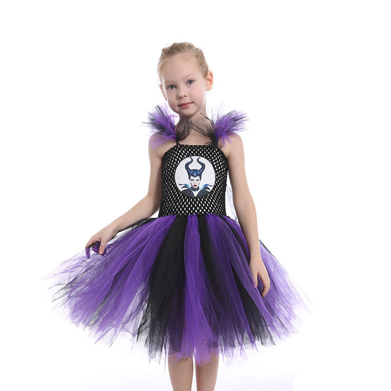Children Cute Summer Fashion 2018 Halloween Cartoon Maleficent Costume Kids Princess Birthday Dresses for Toddlers Party Outfit