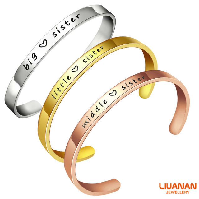 Big Middle Little Sis Sister Bracelet Silver Rose Gold Cuff Bangle Stainless Steel Birthday Gifts Women Girls Jewelry