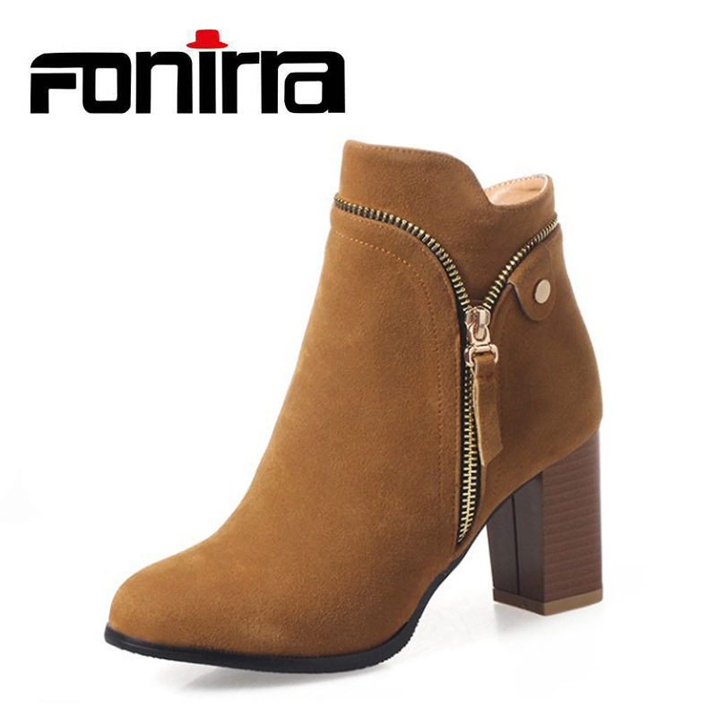 FONIRRA Fashion Zipper Winter Boots Women Europe Flock Ankle Boots Round Toe High Heel Lady Shoes High Quality Suede Boots 963