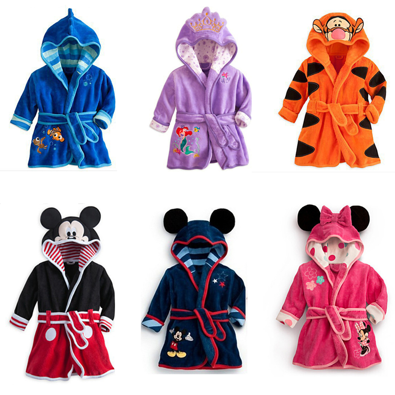 Kids Robes Baby Clothes Lovely Animal Hooded Bath Boys Girls Robes Flannel Robes Long Sleeve Clothes Cotton Children Clothing