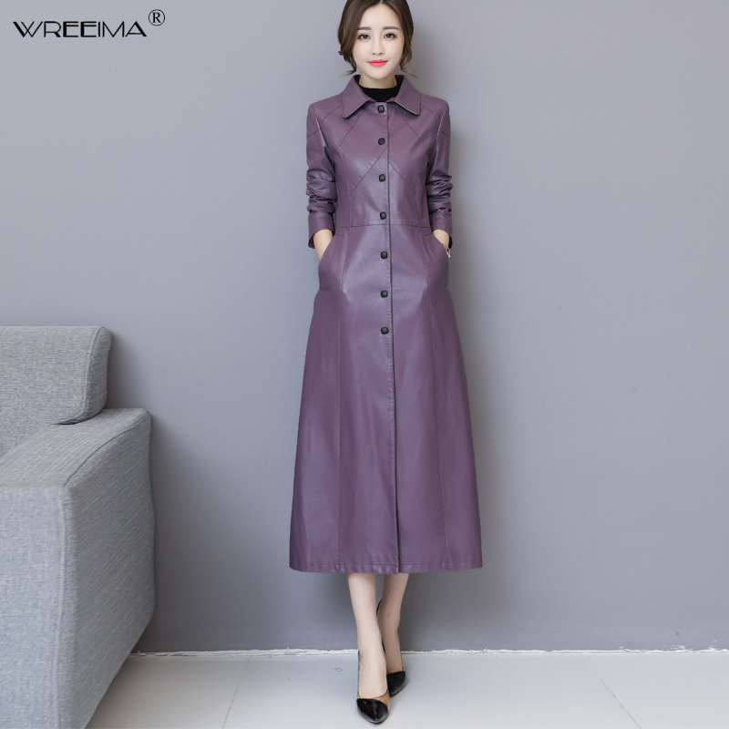 wreeima Women Casual coat 2018 autumn winter female elegant PU   leather   trench coats OL long jacket lady outerwear Plus Size 5XL