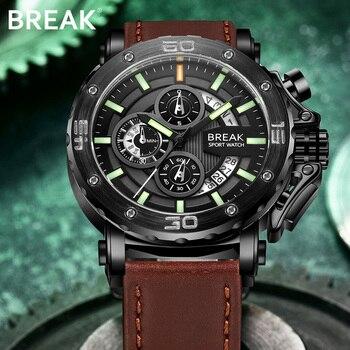 BREAK hombres cronógrafo Casual reloj de lujo cuarzo militar deporte relojes fecha cuero Hombre relojes de pulsera Relogio Masculino 5689